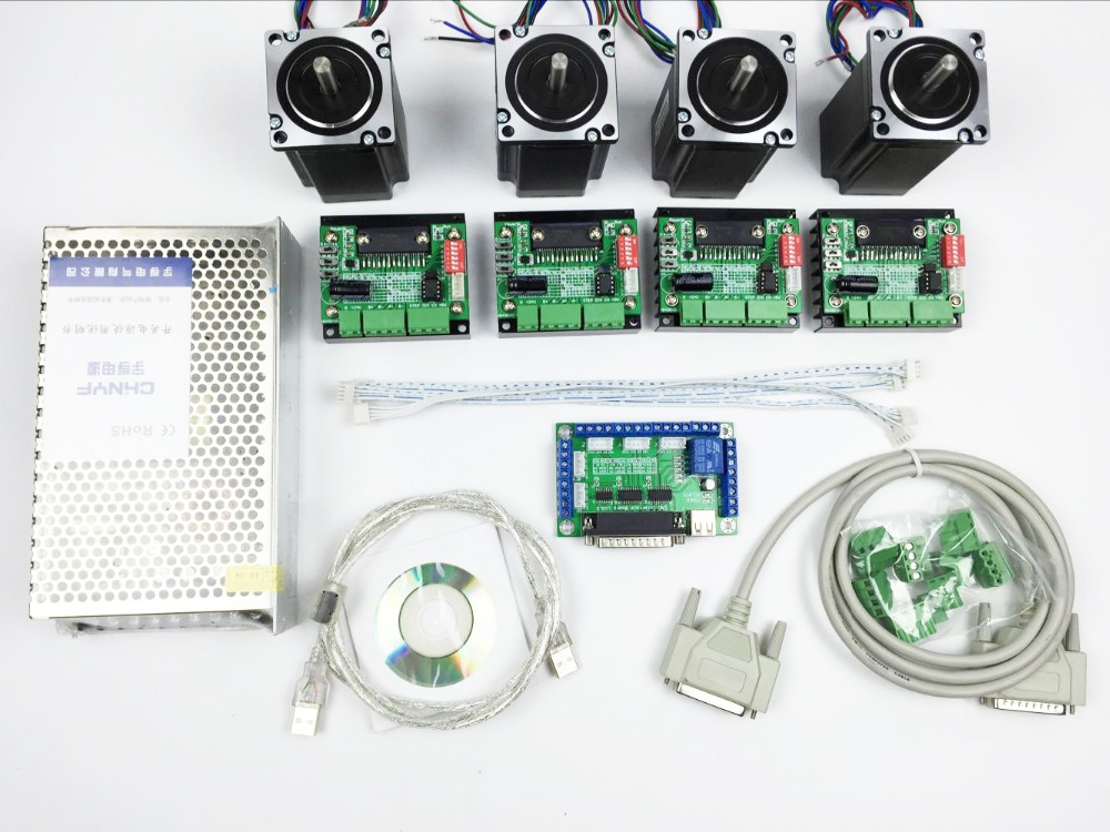 CNC Router Kit 4 Axis, 4pcs 1 axis TB6560 driver +one interface board + 4pcs Nema23 312 Oz-in stepper motor + one power supplyCNC Router Kit 4 Axis, 4pcs 1 axis TB6560 driver +one interface board + 4pcs Nema23 312 Oz-in stepper motor + one power supply