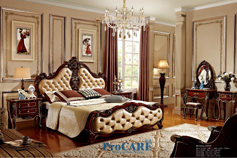 hot sale France luxury solid rose wood Bedroom furniture sets with 1.8M  genuine leather bed,nightstand,vanity table,bench-6001