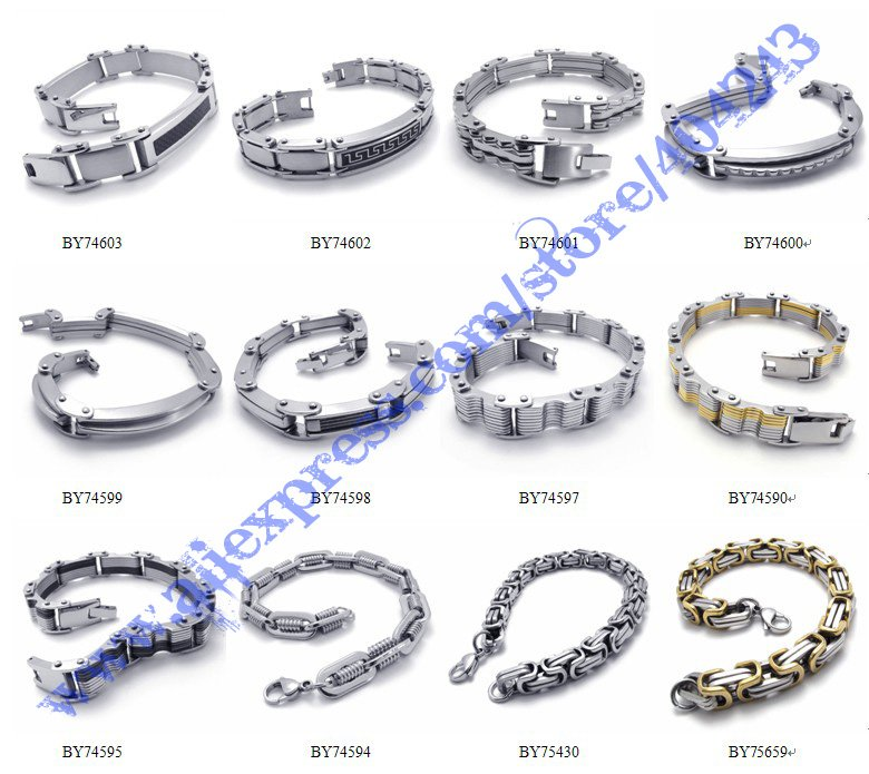 10pcs Mix Order Designer Cuff Mens White Bracelet Stainless Steel Jewelry Bracelets Charm Bangles Fashion Jewellery In From