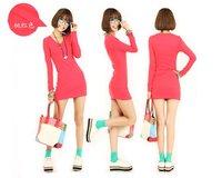 платье весна новые продукты, новый стиль женской стиль т сюй, в получает в, чтобы получить низкую с длинным рукавом