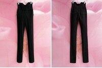 бесплатная доставка женская высокая талия тощие кадрированные длинные черные брюки + опт/розница