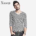 Men's Slim Fit V Neck Black and White Geometric Pattern TShirt Men Spring Autumn Fashion Black Casual Clothing