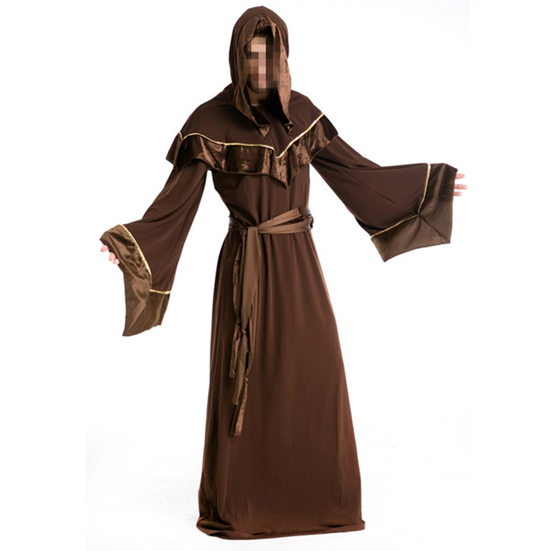 Halloween Costumes Adult Mens Gothic Wizard Brown Costume European Religious Men Priest Uniform Fancy Dress Cosplay Costume