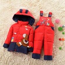 Горячая Продажа зимой дети одежда наборы duck пуховик устанавливает брюки + куртка с капюшоном новорожденных девочек зимняя куртка и пальто пони шаблон