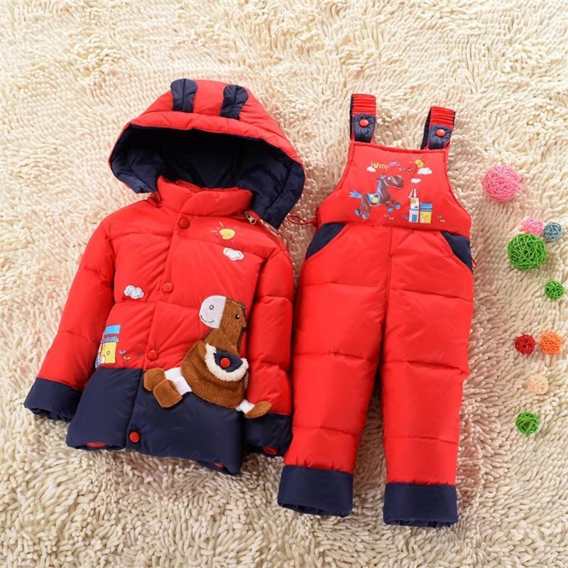 Hot Sale winter children clothing sets duck down jacket sets pants jacket hooded font b baby