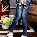 4-14 лет девочки джинсы блестки девушки брюки хлопок дети джинсы мода дети джинсовые брюки повседневная рваные джинсы дети брюк