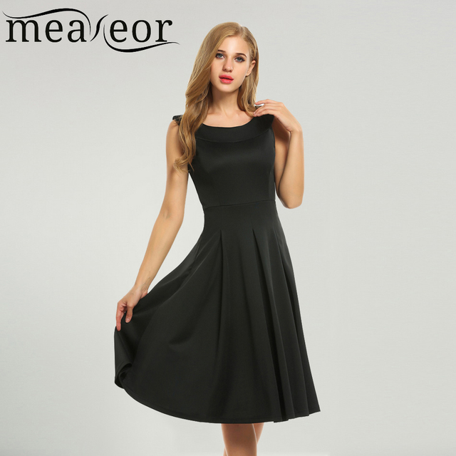 5835c14a83 Meaneor Women Round Collar Sleeveless Solid Fit and Flare Party Pleated Midi  Dress