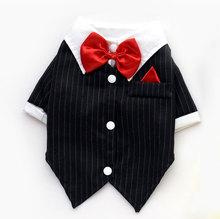 2017 Doggy/Cat Party tuxedo T-shirt for Male Swallowtail Suit Wedding Bowtie Dog Shirts Costume Pet Summer Apparel