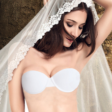 New Wedding Lingerie Push Up Bras Invisible Transparnt Strapless Adjustable Clear Back Blue White Black Nude Rose 32-40 A B C D