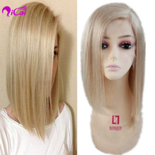 100% Brazilian virgin remy glueless human hair Full lace bob wigs , 60# Blonde color silk straight bleached knots human hair wig
