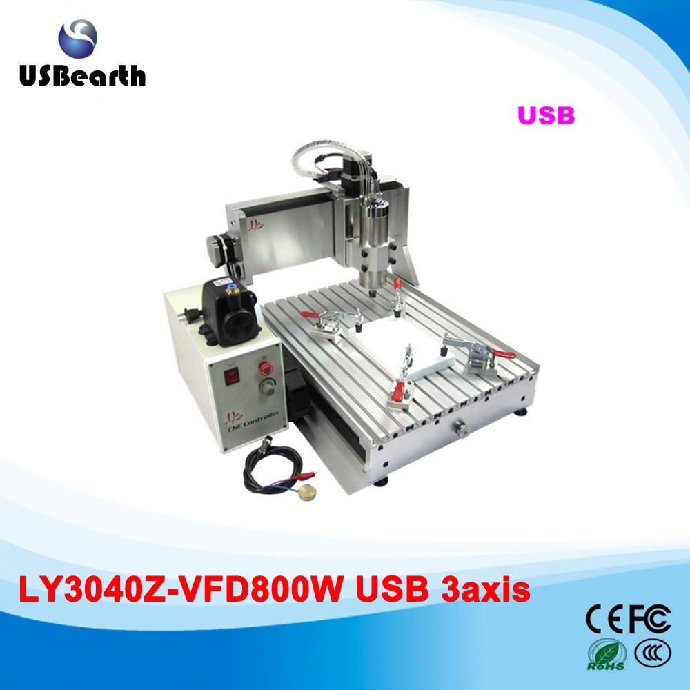 LY 3040Z-VFD800W USB 3axis CNC router assembled CNC carving machine 4axis cnc router 3040z vfd800w engraving machine cnc carving machine cnc frame assembled
