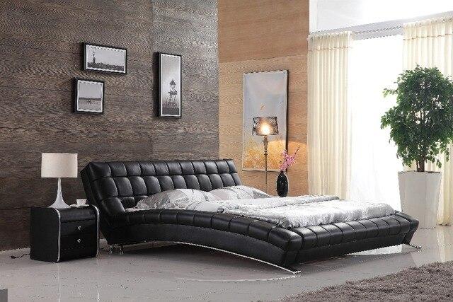 Moderne stijl slaapkamer meubels ontwerp lederen bed frame 0414 b813