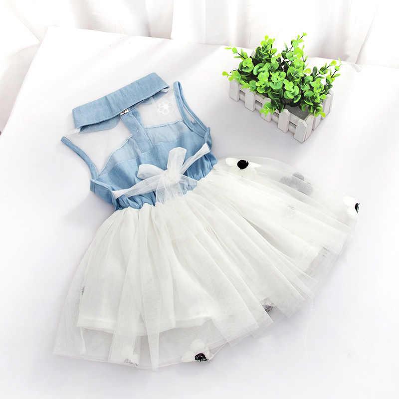 Джинсовое и Тюлевое платье для маленьких девочек рубашка без рукавов фатиновые платья-пачки принцессы модное платье из тюля