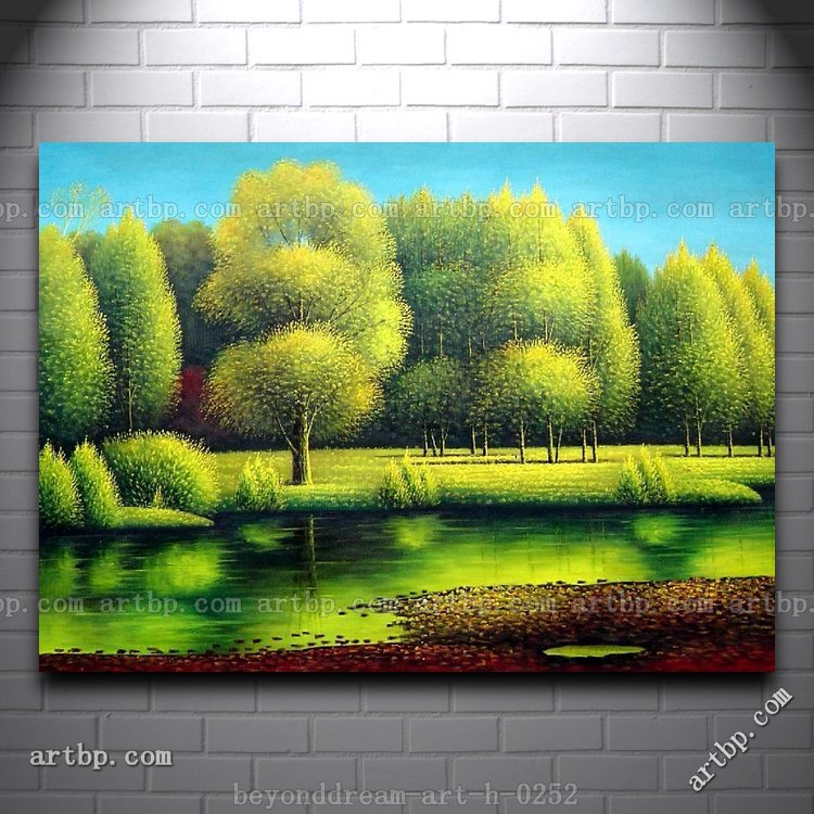Alam Keindahan Lukisan Minyak Lanskap Naturalisme Sungai Lanskap