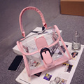 New Fashion Women Candy Color PVC Clear Shoulder Bags Transparent Satchels Tote Handbags HMD06