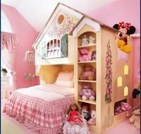 Moveis Para кварто тумбочке Роскошные прямых продаж принцесса дом двухъярусная кровать с книжный шкаф для детской комнаты Мебель сделано в