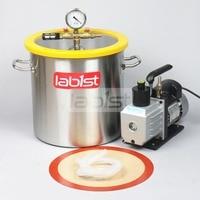 5.5 Gal (21 Liter) Vacuum chamber Kit with 7CFM(3.2L/s) 110V Vacuum Pump,30cm*30cm Stainless Steel Vacuum Degassing Chamber