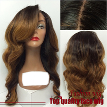 2015 New Fashion Big Wave Wigs Synthetic Lace Front Wigs Three Tone Color 180% Density Heat Resistant Hair Wigs