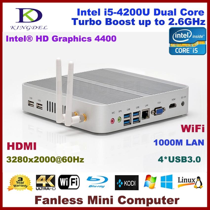Inalámbrico Barebone Nettop Thin Client Mini PC sin ventilador Intel i5 4200U do