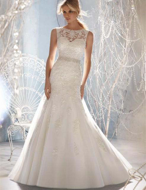 nuevo diseño vestidos de novia sirena sheer escote adornado con