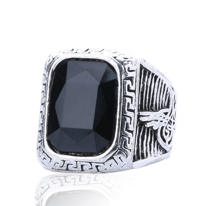 OMENG Vintage Men Rings Big Black Precious Stones Antique Silver Lover Ring For Men /Women Texture Engraving Model Jewelry JZ106