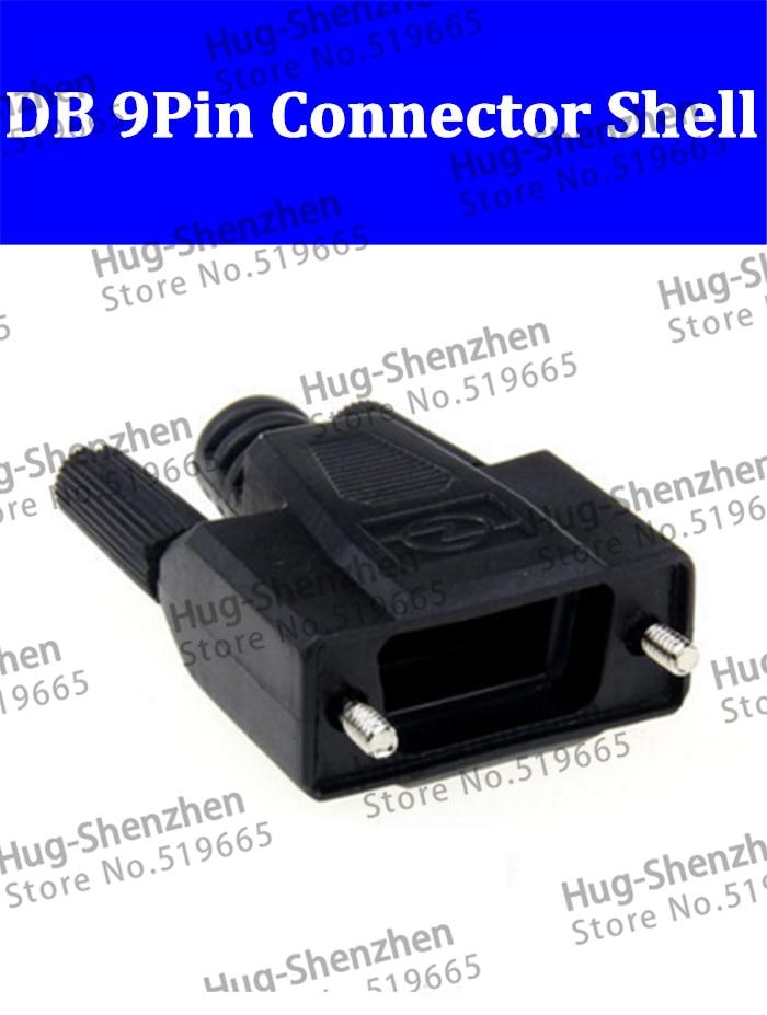 50pcs DB9 Pin Serial VGA COM connector 232 485 Plug Black Plastic Shell High Quality