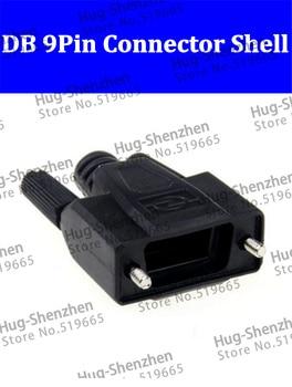 50pcs DB9 Pin Serial  VGA COM connector 232/485 Plug Black Plastic Shell  High Quality