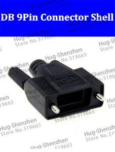 Serial vga com conector 232/485 pinos db9, 50 peças concha de plástico preto de alta qualidade