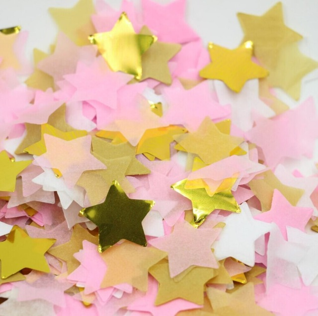 Paper Star Confetti White Pink And Gold Baby Shower Decor Table