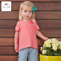 DB3479 dave bella summer baby girls off-shoulder  t-shirt  girls cotton tee baby tops infant clothes toddle  with flower t-shirt