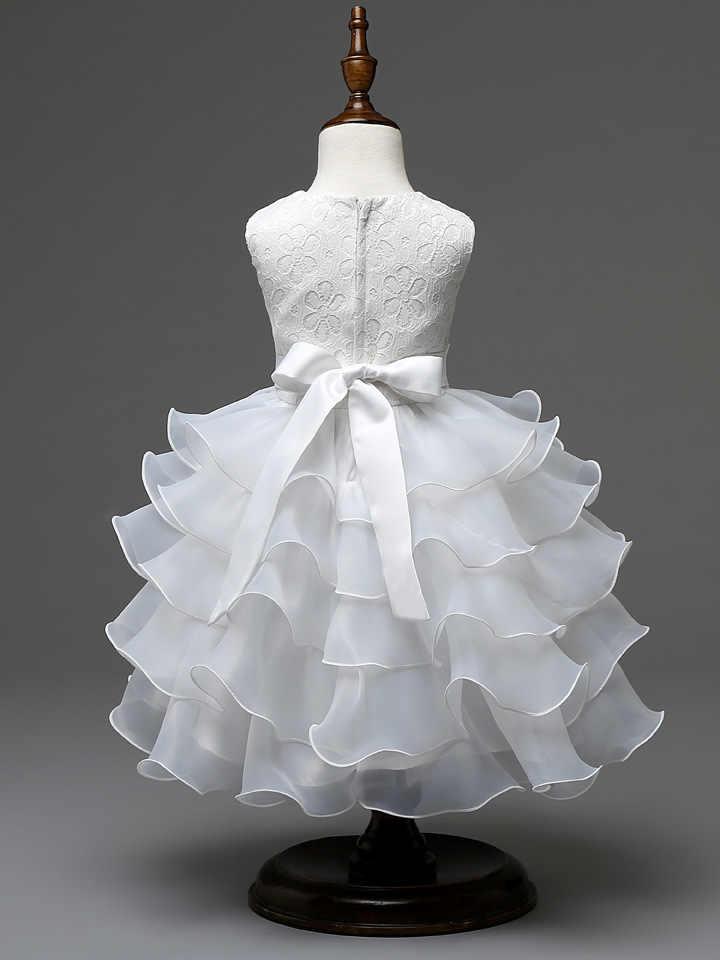 白、ピンク、黄色ローズレッドレイヤードウェディングドレス子供、ビッグ弓パーティープリンセスガールズドレス夏、子供プリンセスガールパーティードレス