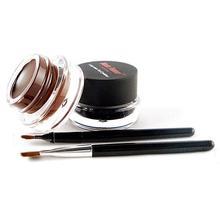 4 pcs Makeup Set 2Pcs Brush + 2 Colors Brown and Black Eye Liner Gel Cosmetic TF