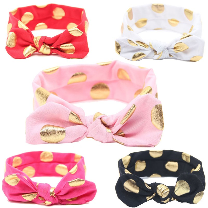 1PCS Lovely Bow Headband Flowers Polka Dot Hairband Turban Ks