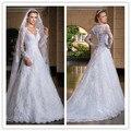 Verano Estilo atractivo por encargo vestido de noiva opacidad volver vestidos de noivas 2016 manga larga vestidos de novia casamento