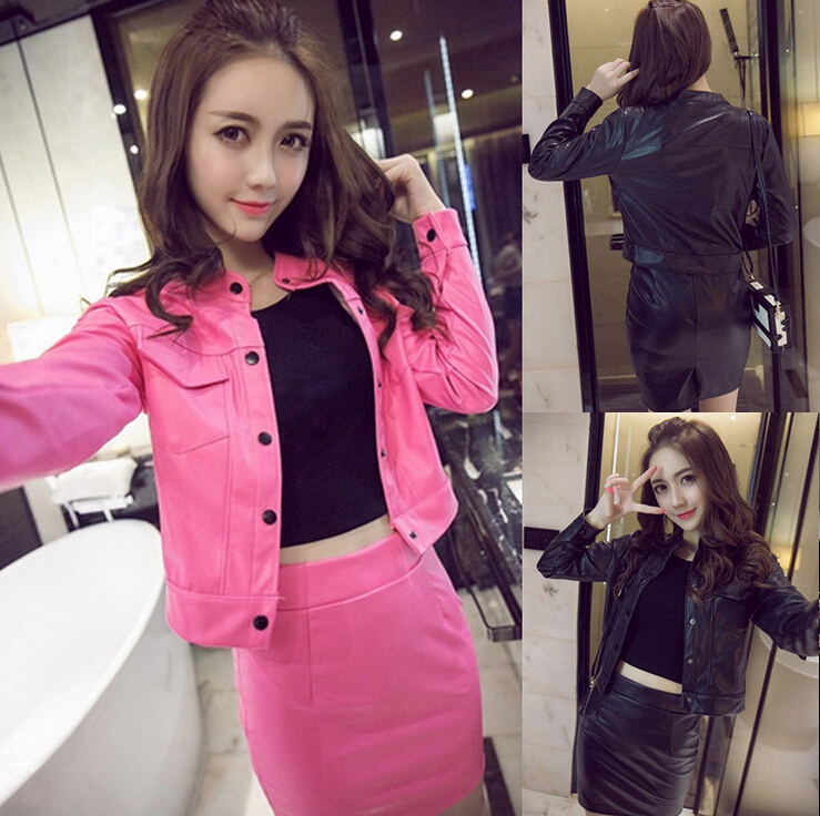 Spring Autumn 2 Piece Set Women Single breasted PU Leather Short Jacket Top And Skirt Set