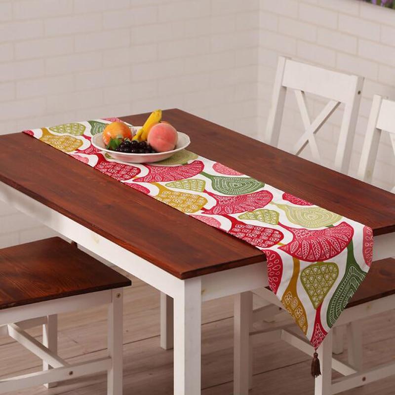 3 Size Pastoral Style Leaf Car Orange Pattern Bronzing Printing Table Runner  Cloth Wedding Table Runner