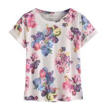 Feitong 2017 T Shirts Fashion T-shirt Women Summer t-shirt top Short Sleeve t shirts Flower Printed tshirt Tops vetement femme