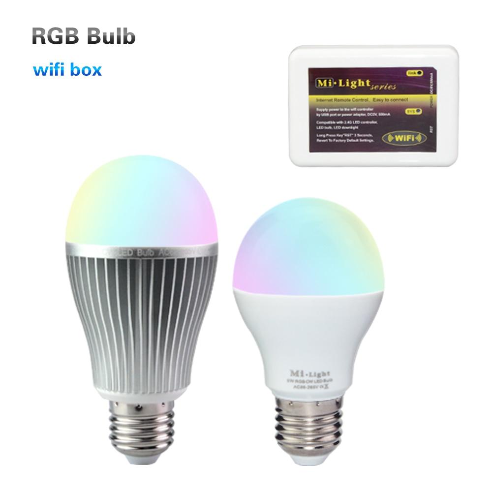 Mi-light 6W / 9W E27 LED Bulb RGBW with Mi Light 2.4G Wireless Wifi APP iOS Android RF Remote Controller Lampada 2 4g wifi android ios app remote control led globe light bulb e27 9w rgb