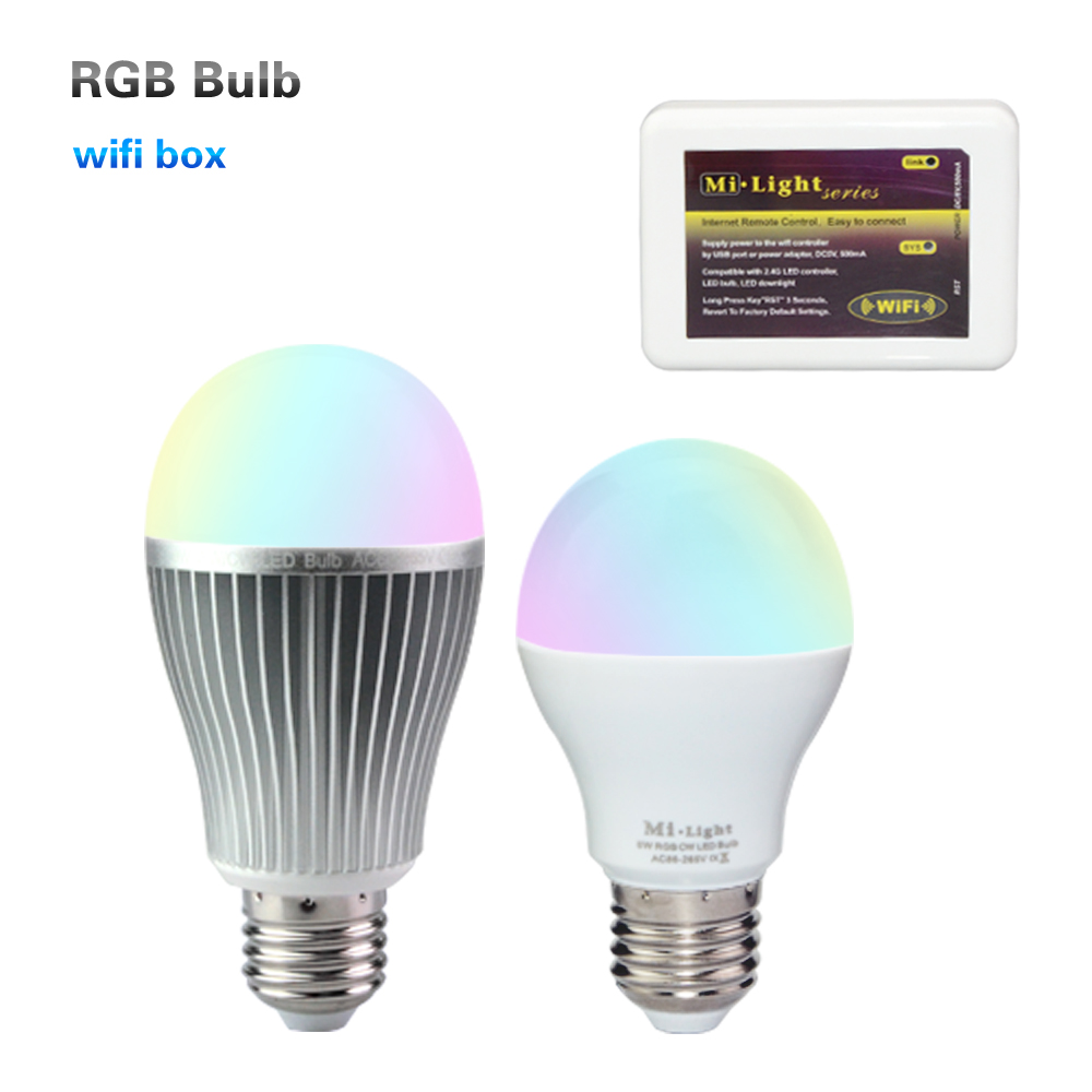 Mi-light 6W / 9W E27 LED Bulb RGBW with Mi Light 2.4G Wireless Wifi APP iOS Android RF Remote Controller Lampada langma mi light ios android ac110v 220v e27 6w rgbw 2 4g wifi smart light led bulb lamp dimmable wifi controller