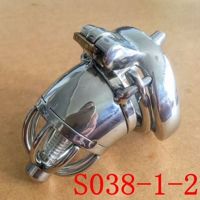 Male Chastity Belt 70mm size Stainless Steel Chastity Device Penis Restraint Cage+Anti-off card ring S038-1-2