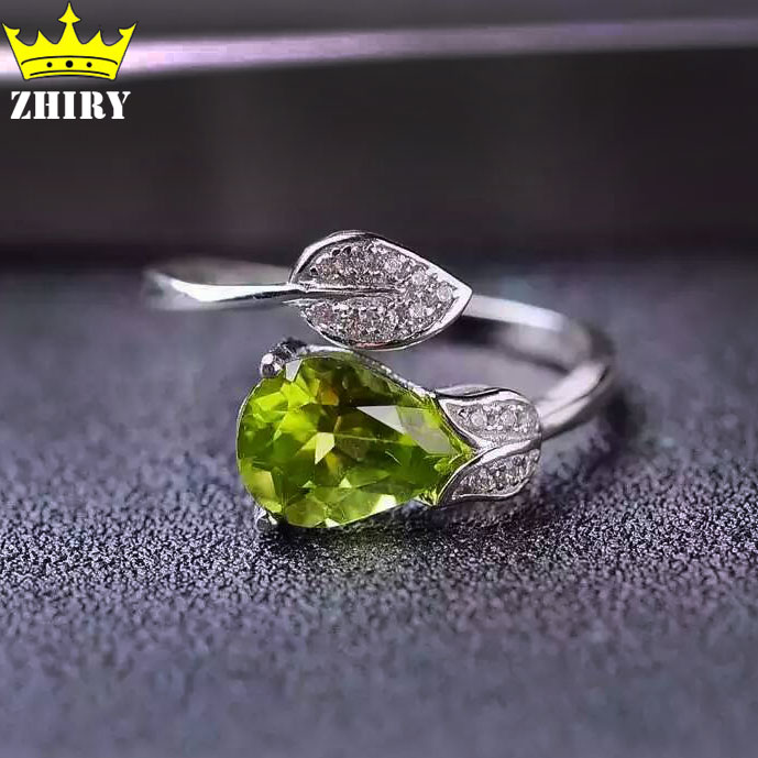 ZHHIRY Natural Peridot Stone Rings Genuine Solid 925 Sterling Silver Woman Gem Ring Fine Jewelry цена