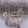 "New design!! gold foil with 2 colors ink printed chevron fold over elastic 5/8"" high quality printed foe 50 yards 029 white"