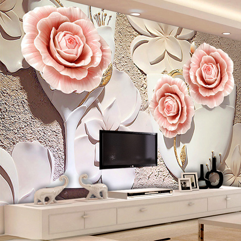 Custom Size Modern Simple 3D Flower Mural Deep Embossed
