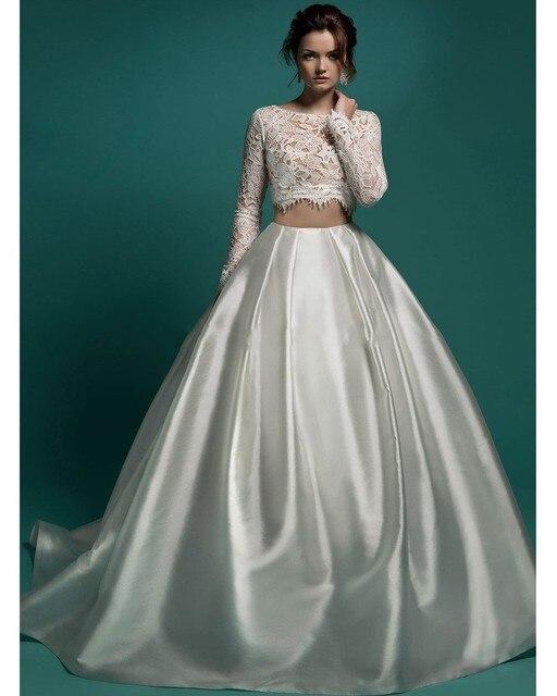 FW972 Sexy Crop Top Ball Gown Abiti Da Sposa 2016 romantico Pizzo Bianco A  Maniche Lunghe 3174b4696dc