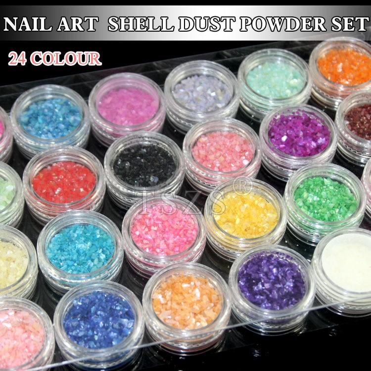 1set /lot 3D Acrylic Decor Tips 24 colors Nail Art Glitter Shell Crushed Chips Powder