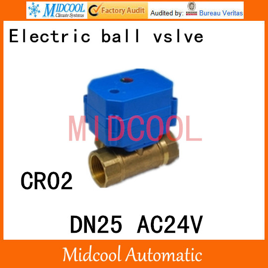 Brass Motorized Ball Valve 1 DN25 Water control Angle valve AC24V electrical ball (two-way) valve wires CR-02 cwx 25s brass motorized ball valve 1 2 way dn25 minitype water control valve dc3 6v electrical ball valve wires cr 02