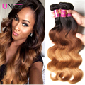 7A Ombre Hair Indian Body Wave 4 Bundles Color 1B/4/27 Ombre Hair Extensions Unice Hair Company Raw Indian Ombre Human Hair Wavy