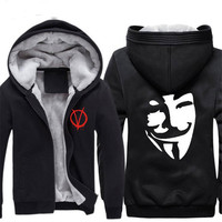 Vendetta Anoniem Print Cosplay Hoodies Guy Fawkes Cosplay Capuchon Vendetta Halloween cosplay kostuum CS292100