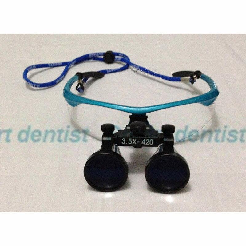 ФОТО 2016  Ultra-light High quality 3.5X420mm Blue Portable Dental Surgical Medical Loupe Optical Glass