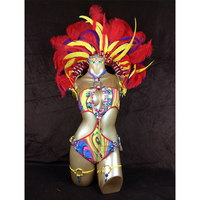 Free shipping hot selling Sexy Customized Samba Rio Carnival Costume with mulit colors Feather Head piece(one piece costume)